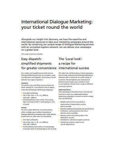 dialogue marketing service sample