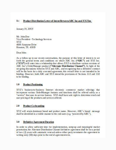 distribution agreement letter in doc