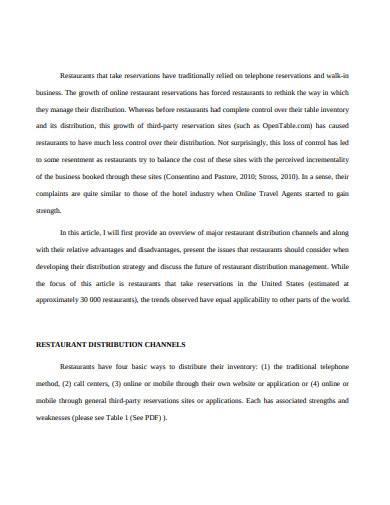 distribution channel management in restaurant industry