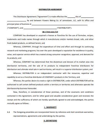 distributor agreement in pdf