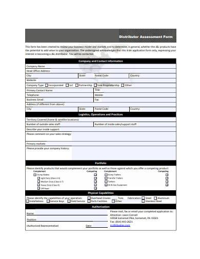 distributor assessment form sample