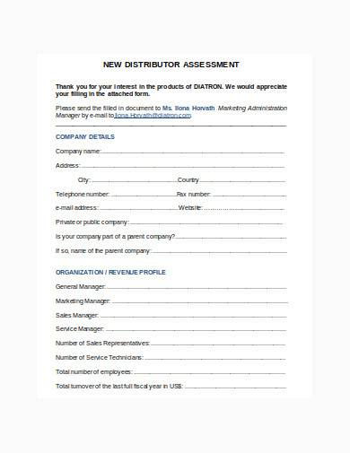 distributor assessment form in doc