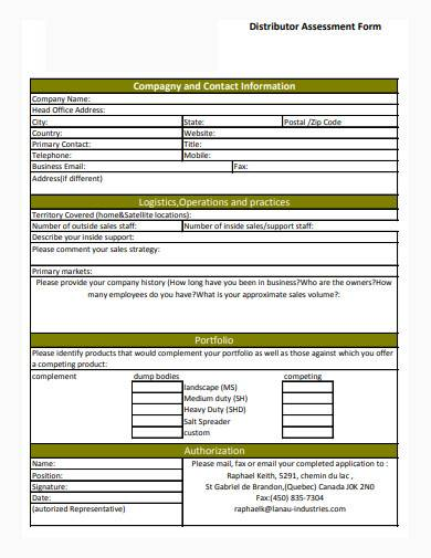 distributor assessment form in pdf