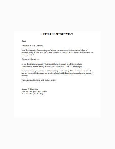 distributor letter of appointment sample