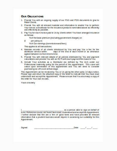 distributor letter of appointment in doc