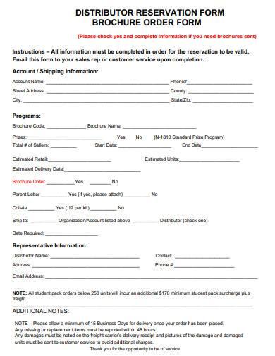 distributor reservation order form