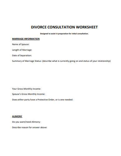 divorce consultation worksheet