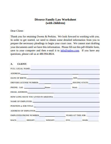 divorce family law worksheet