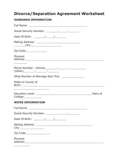 divorce separation agreement worksheet