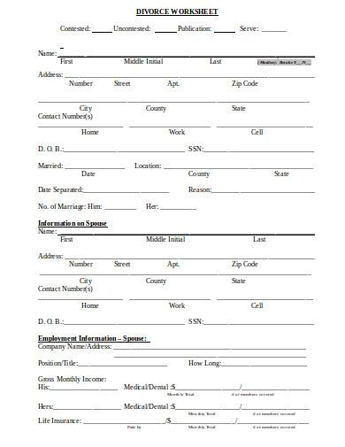 divorce worksheet in doc
