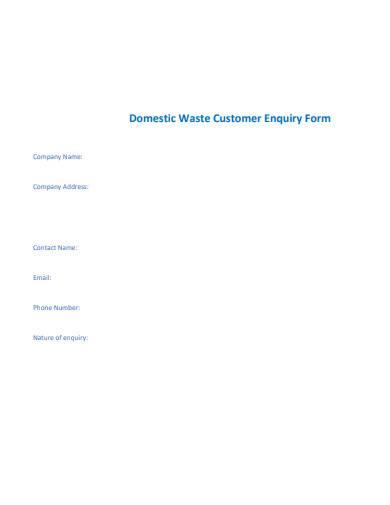 domestic waste customer enquiry form