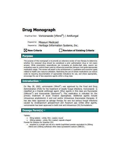 drug monograph sample