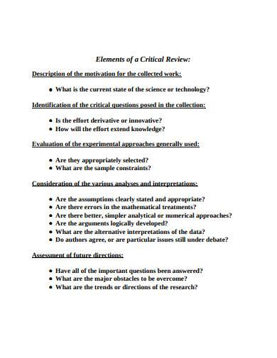elements of critical review