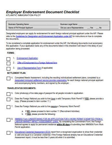 employer endorsement document checklist