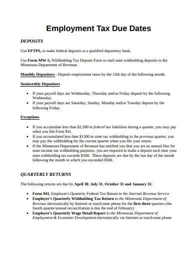 employment tax due dates