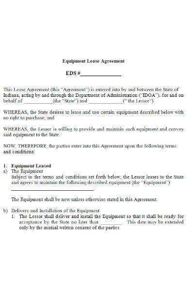 equipment lease agreement in ms word