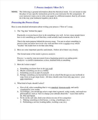 essay process analysis sample in pdf