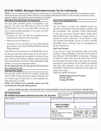estimated taxes template