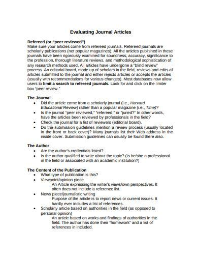 evaluating journal article