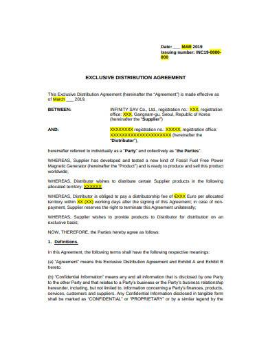 exclusive distribution agreement template