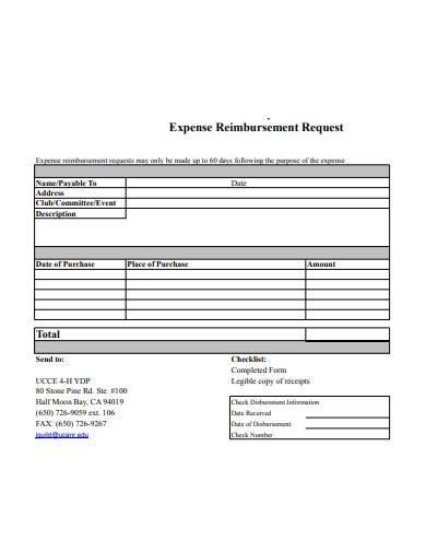 expense reimbursement request form sample