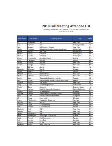 fall meeting attendee list sample