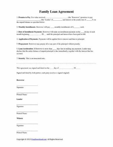 family credit loan agreement sample in pdf