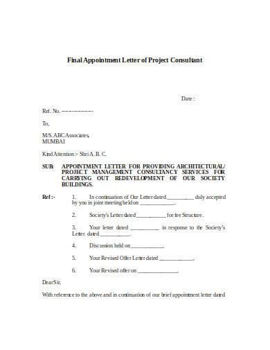 final appointment letter of project consultant