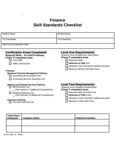 finance skill standard checklist