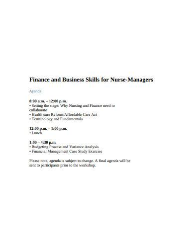 finance and business skills for nurse managers