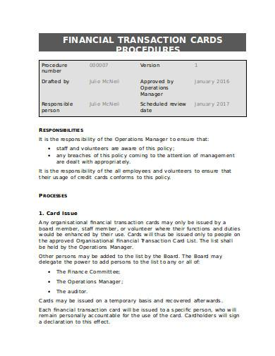 financial transaction cards procedures