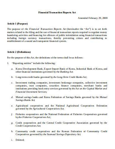 financial transaction report act