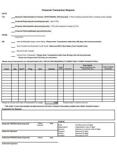 financial transaction request