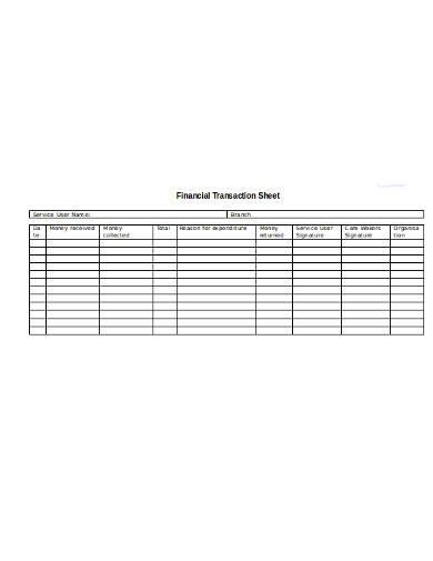 financial transaction sheet
