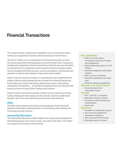 financial transaction