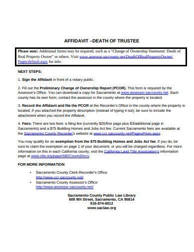 formal affidavit death of trustee