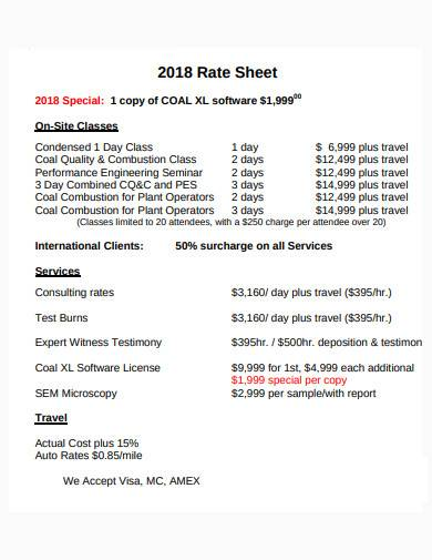 formal consultant rate sheet template0a