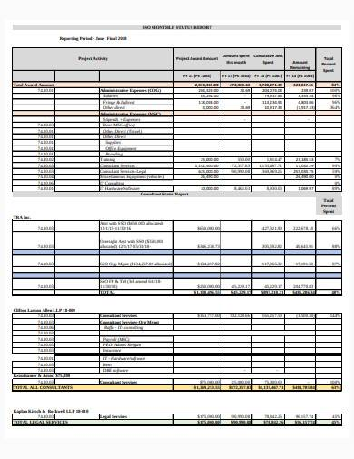 formal consultant status report sample