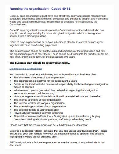 formal immigration business plan sample