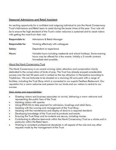 formal retail assistant cover letter template