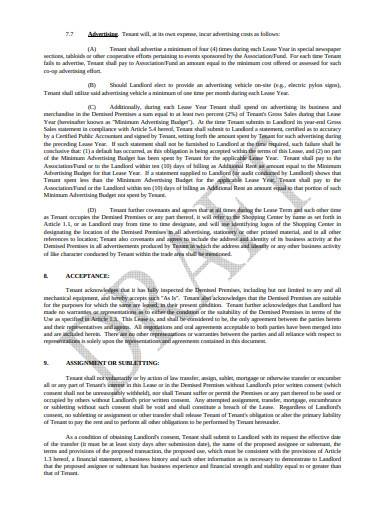 formal retail lease agreement template