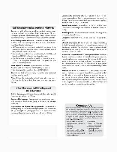 formal self employment tax sample