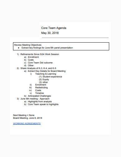 formal team agenda sample