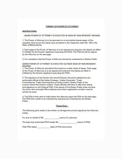 format of general power of attorney sample