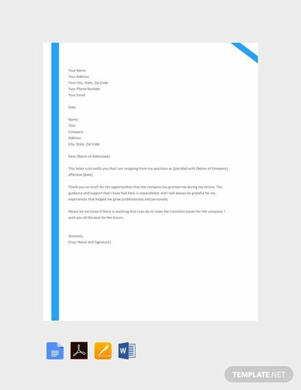 36+ Resignation Letters Samples & Templates in PDF
