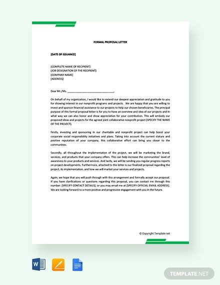 free formal proposal letter