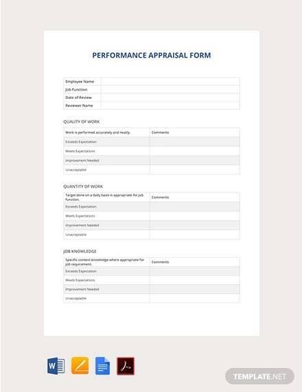 free performance appraisal form