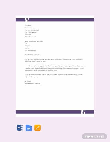 free resignation letter to company template