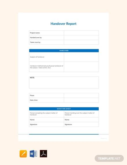 free sample handover report template