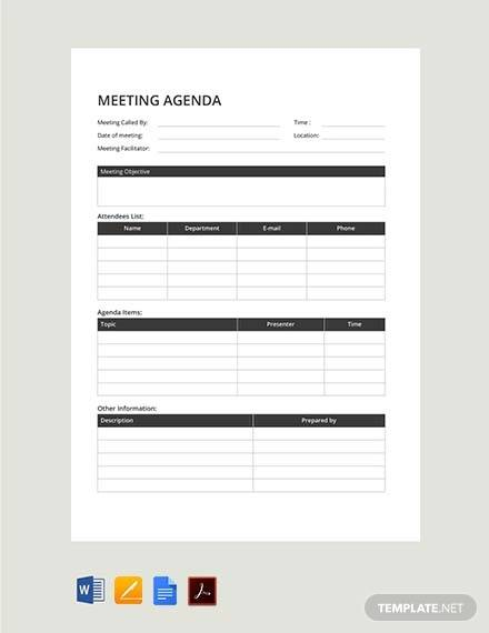 free sample meeting agenda template